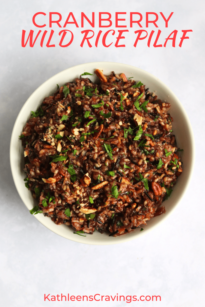 Cranberry wild rice pilaf with pecans and parsley in a bowl