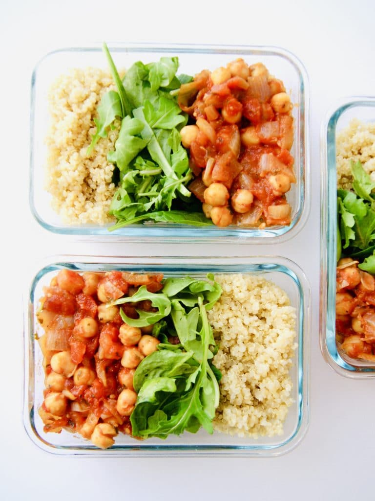 Vegan spicy chickpea quinoa meal prep