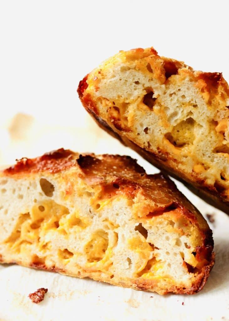 Sliced cheesy bread