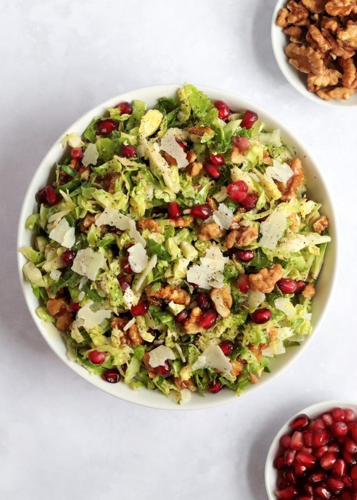 Shaved brussels sprout salad with walnuts