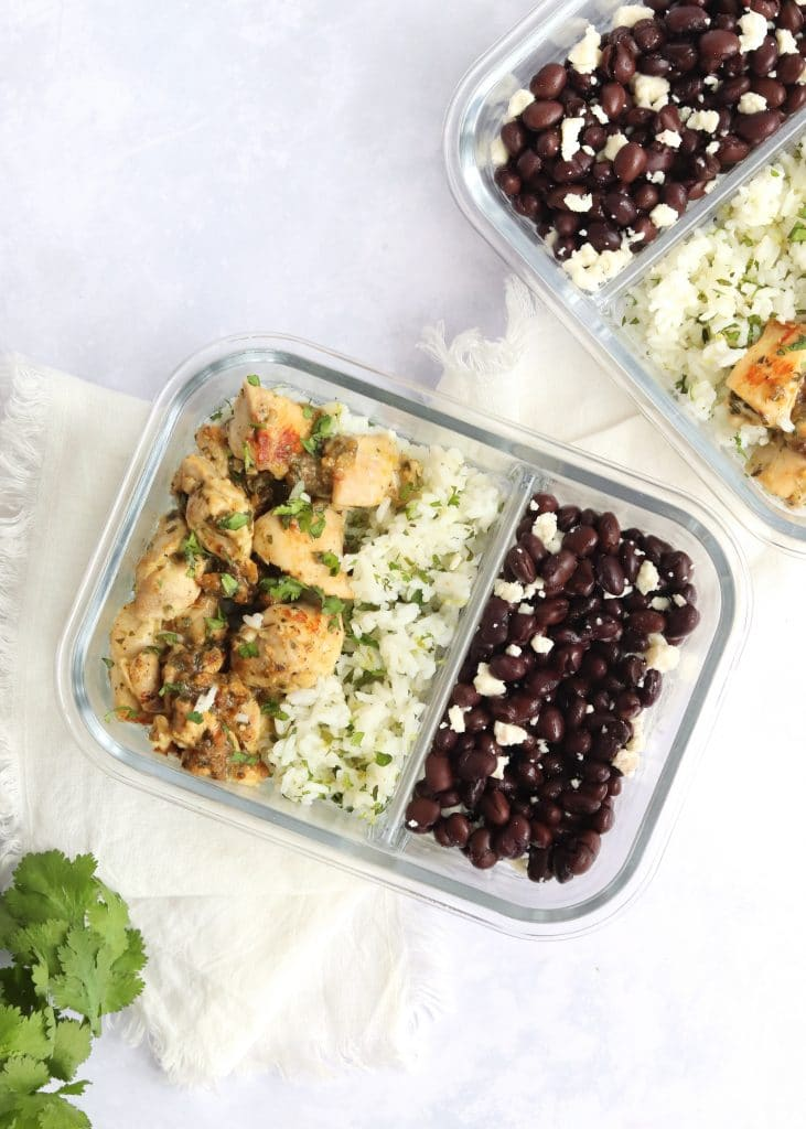 Salsa verde chicken meal prep containers with fresh cilantro