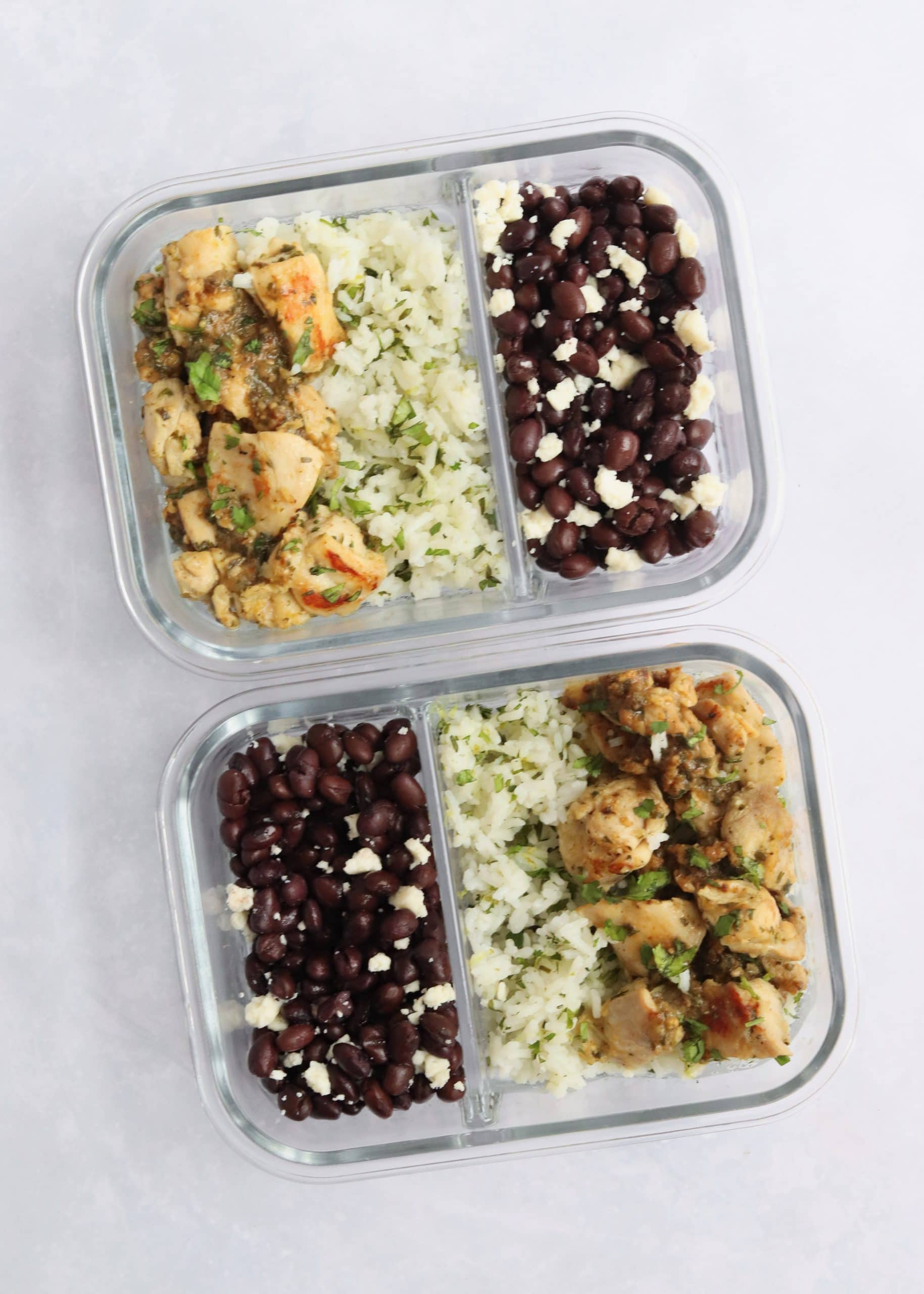 Salsa verde chicken meal prep with rice and beans