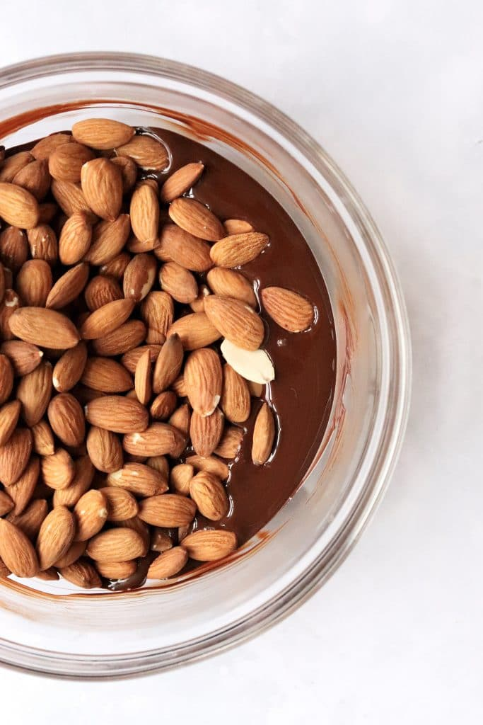 Bowl of melted chocolate with toasted almonds