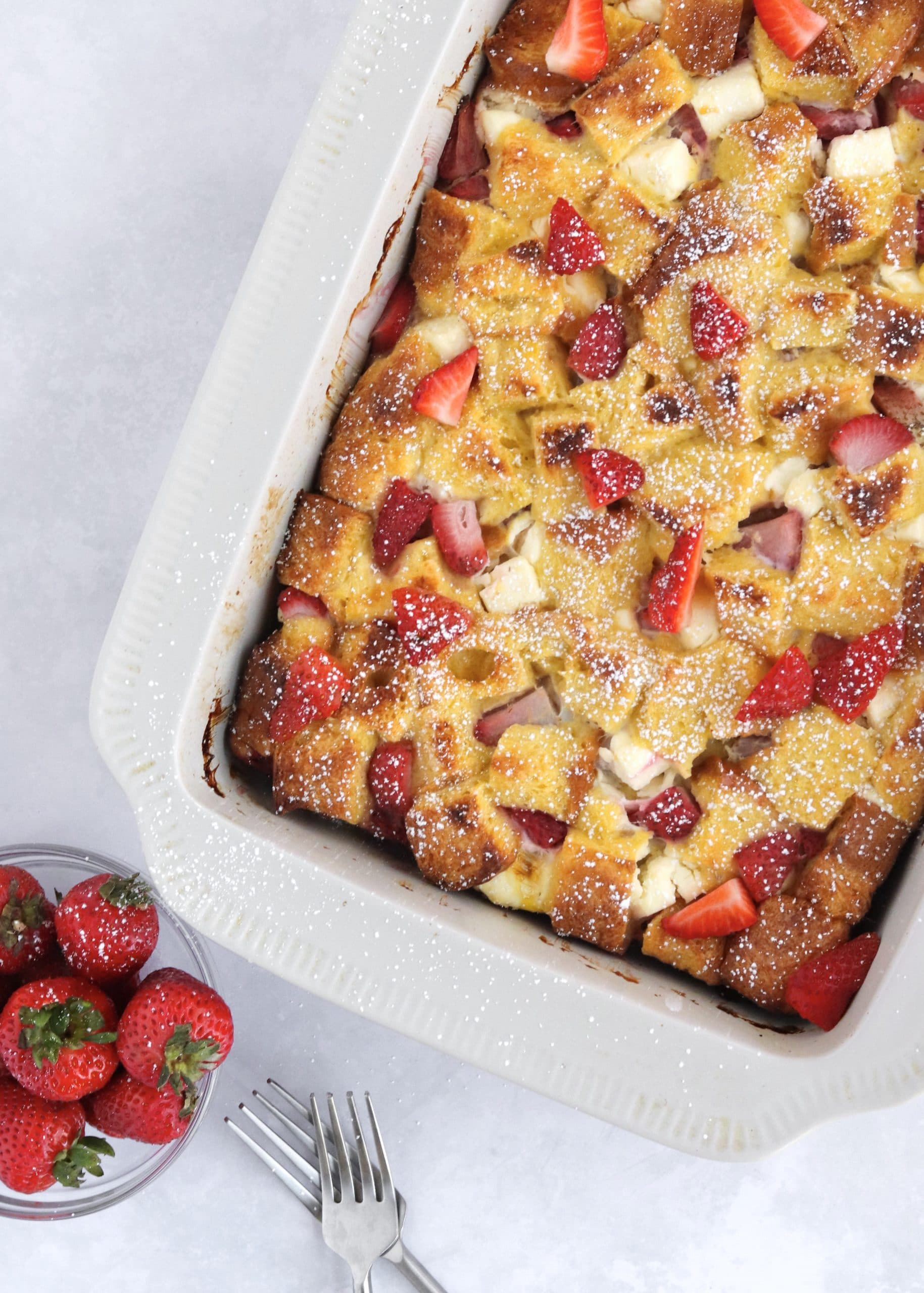 Strawberry overnight French toast bake