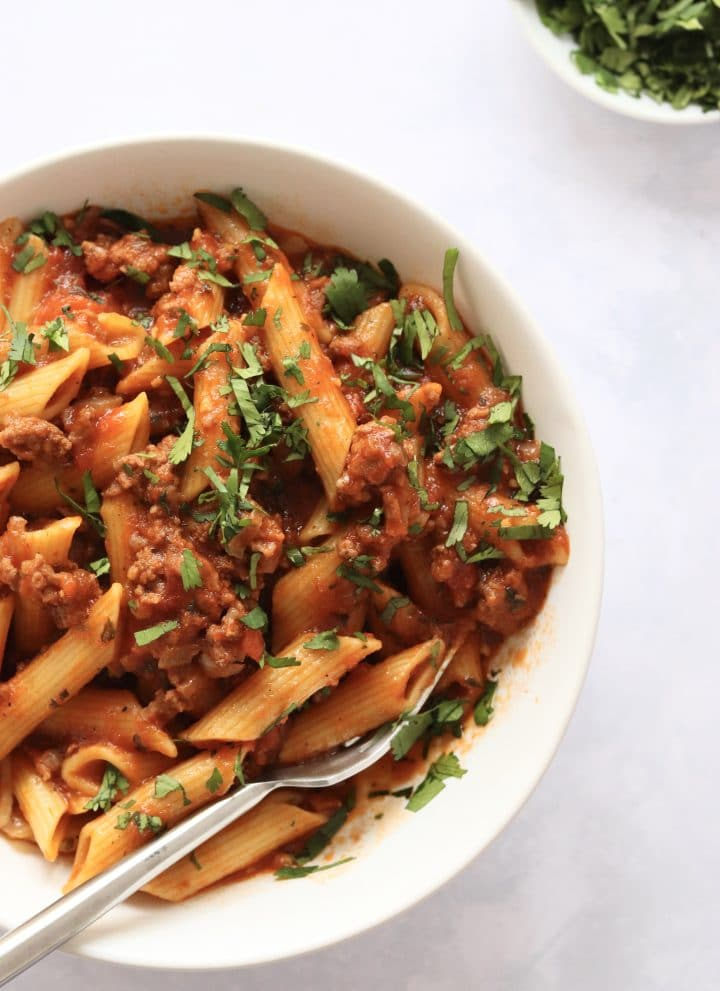 Pasta with meat sauce in a bowl