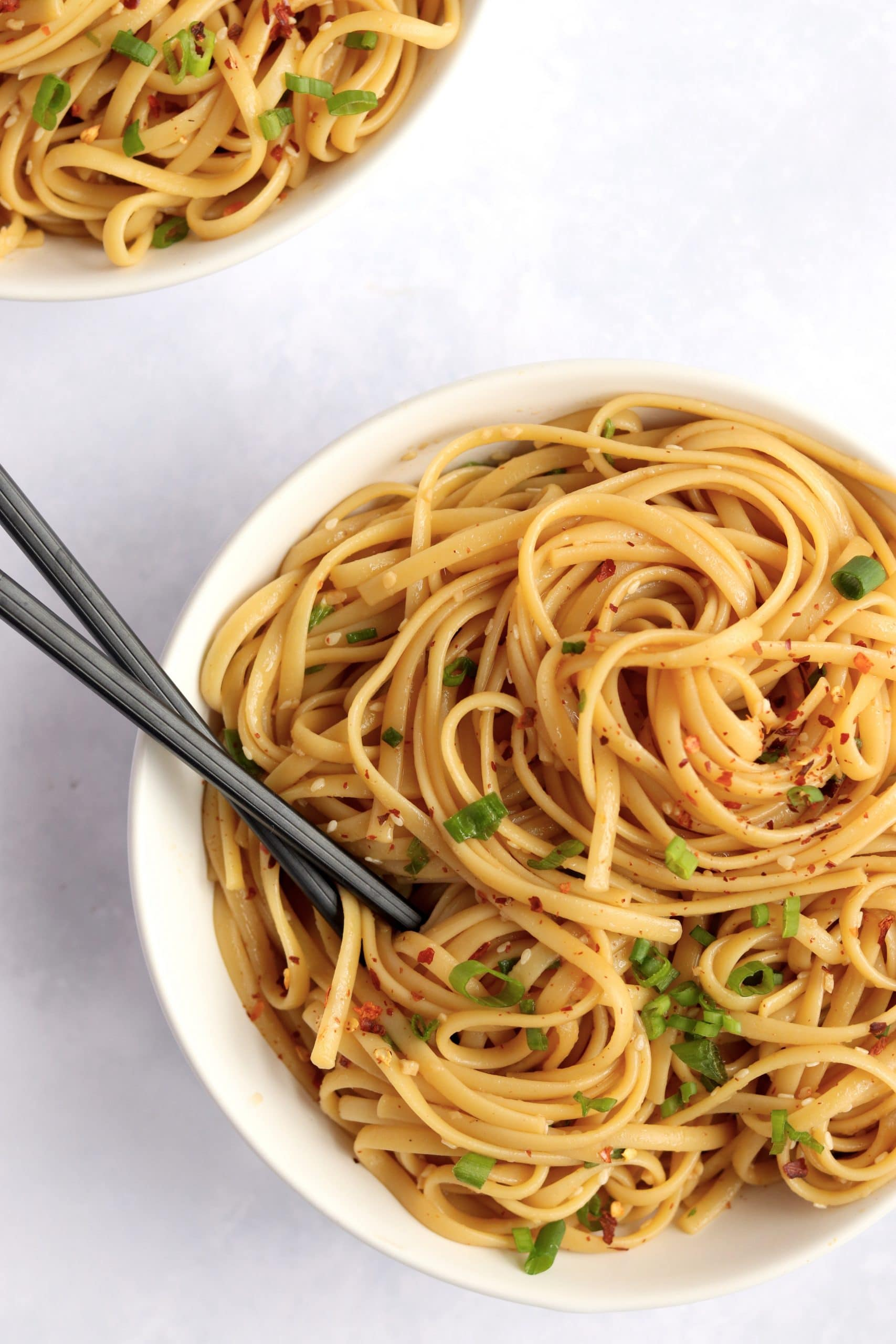 two bowls of easy sesame noodles