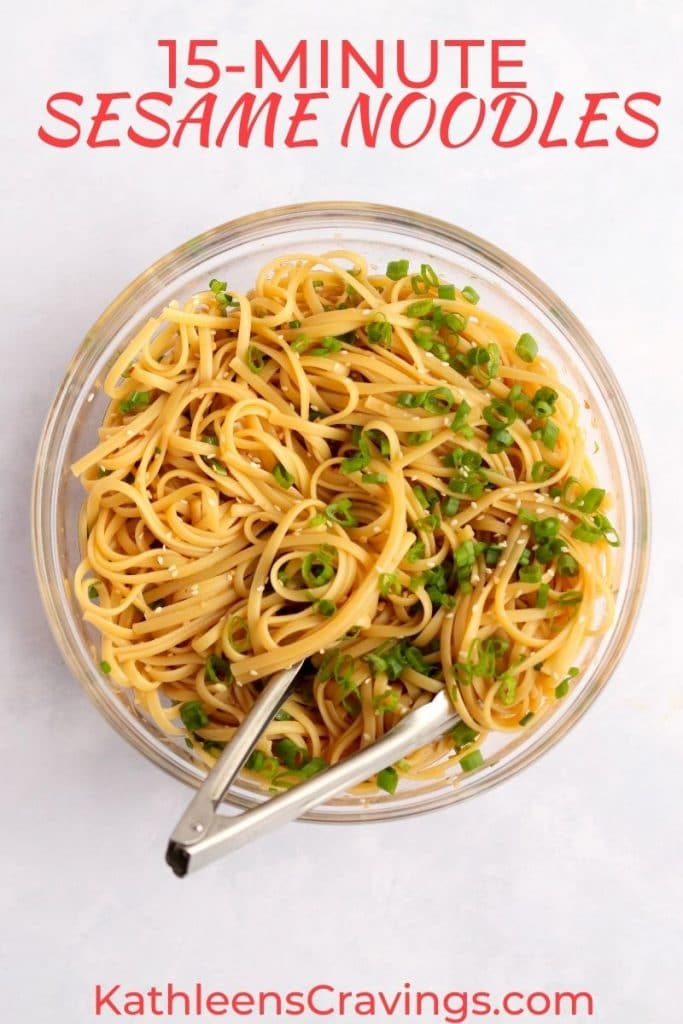 Easy sesame noodles with green onions in a bowl