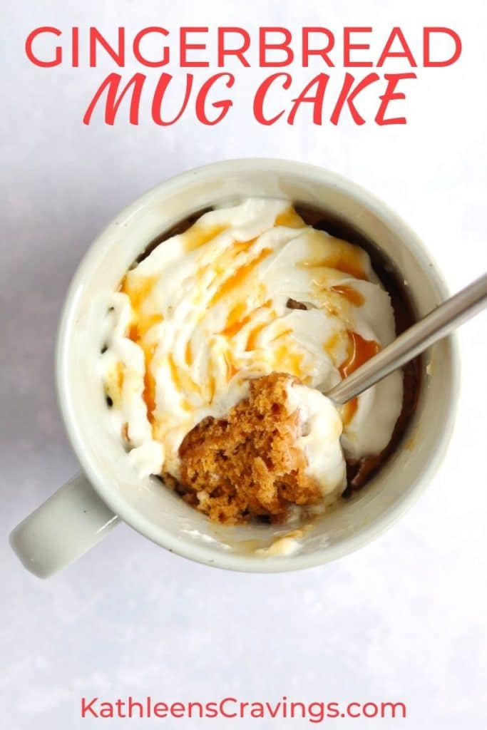Festive microwave mug cake with text overlay