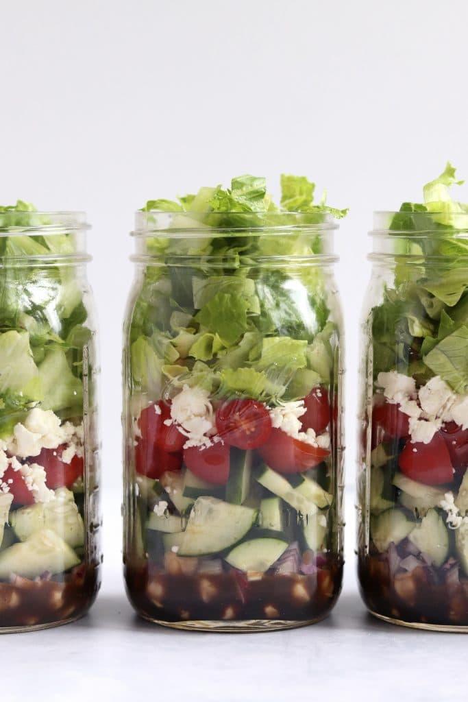 greek chickpea salads in mason jars