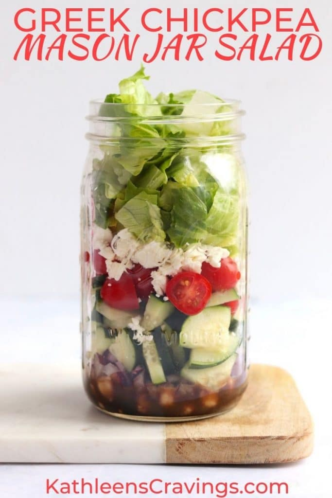 Greek Chickpea Mason Jar Salad with text overlay