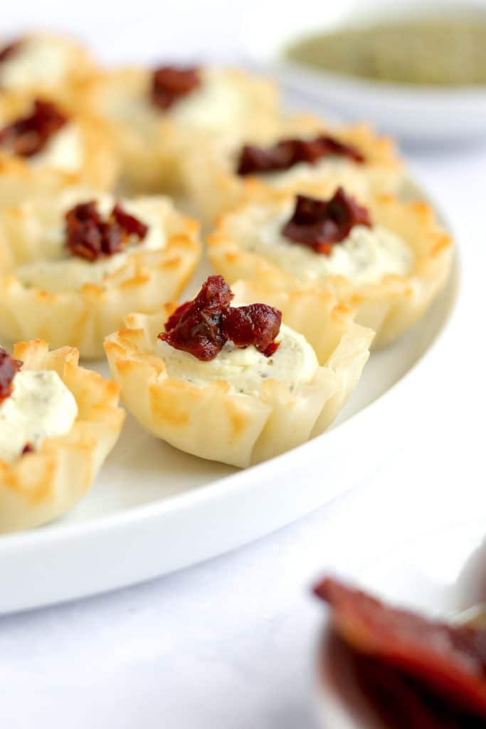 Close up of feta cream cheese filled phyllo cups