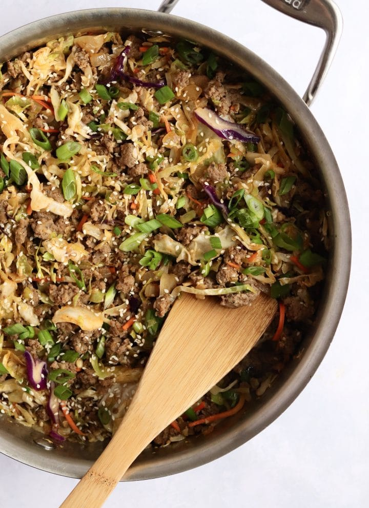 Pork egg roll bowl in a large pan