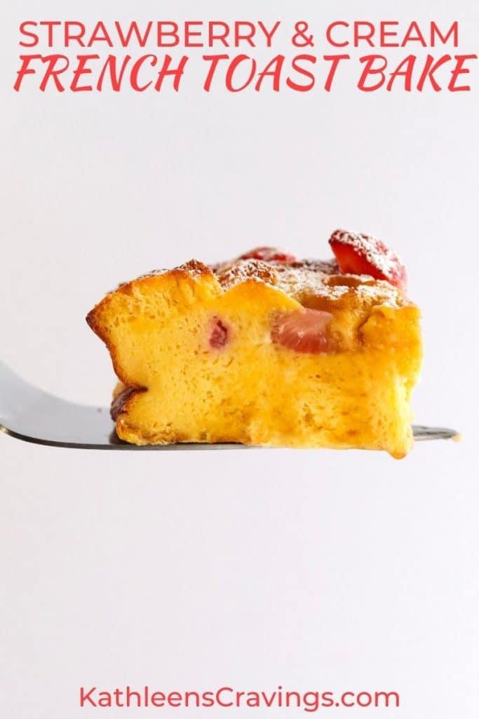 Spatula holding up slice of strawberry French toast bake