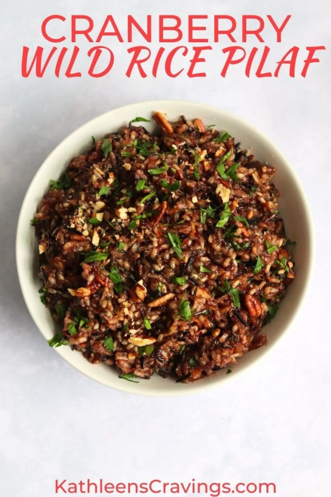 cranberry wild rice pilaf with pecans in a serving bowl
