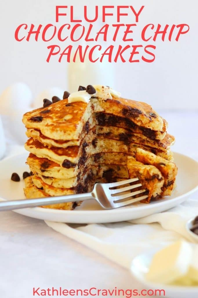 Stack of extra fluffy chocolate chip pancakes