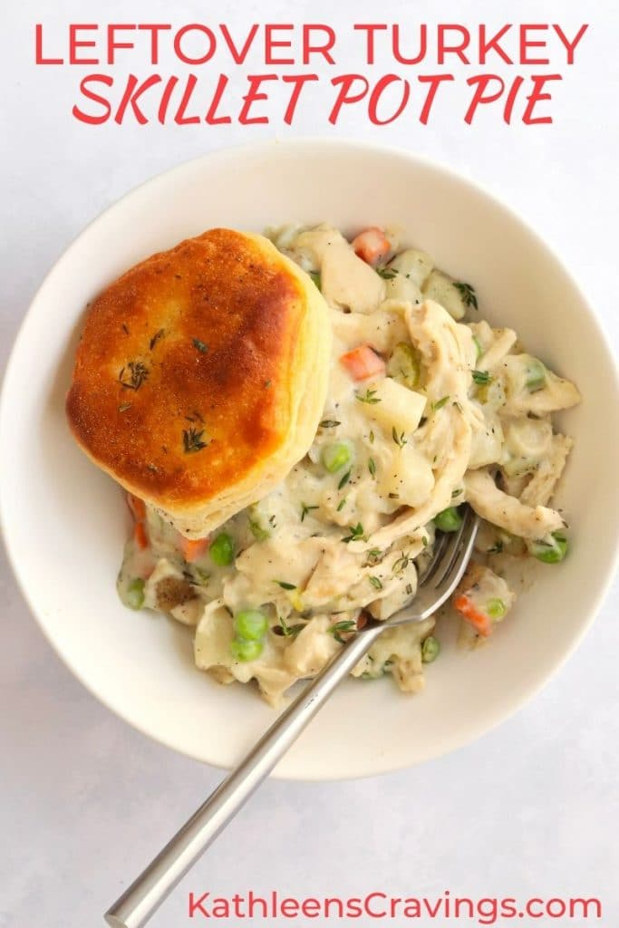 Turkey pot pie with a biscuit in a bowl