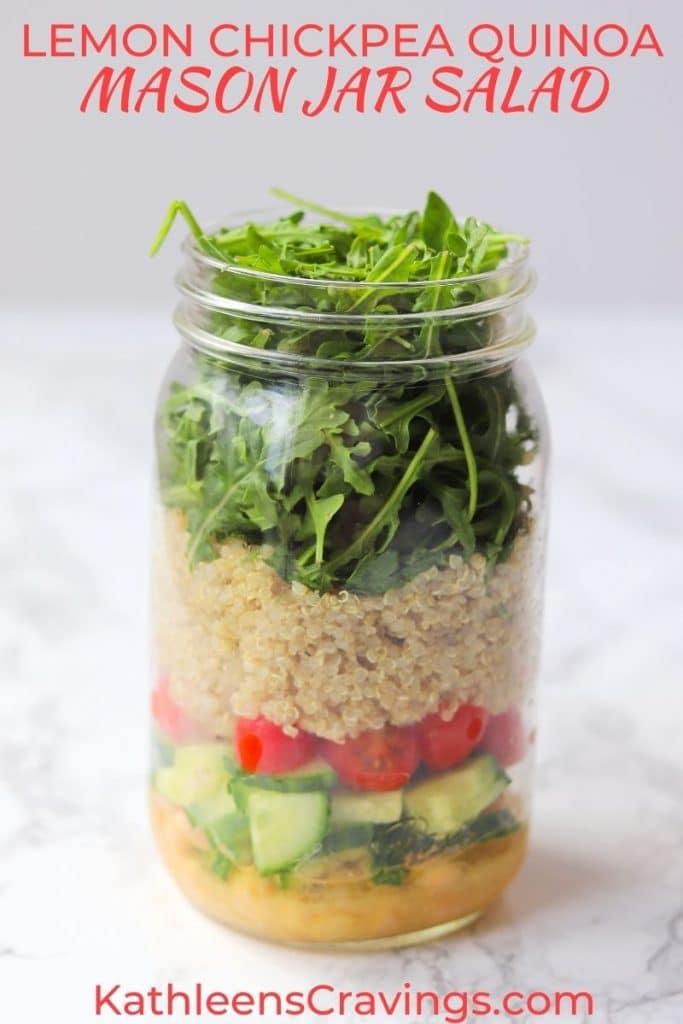 Vegan chickpea mason jar salad for healthy meal prep