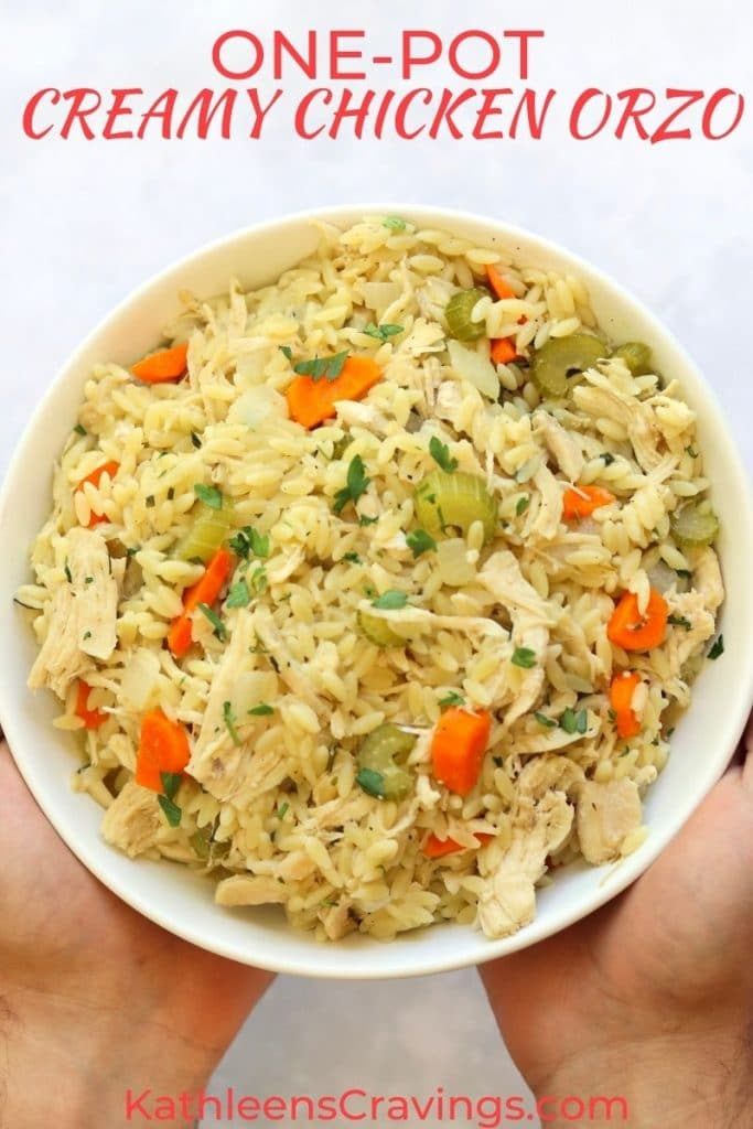hands holding bowl of creamy chicken orzo