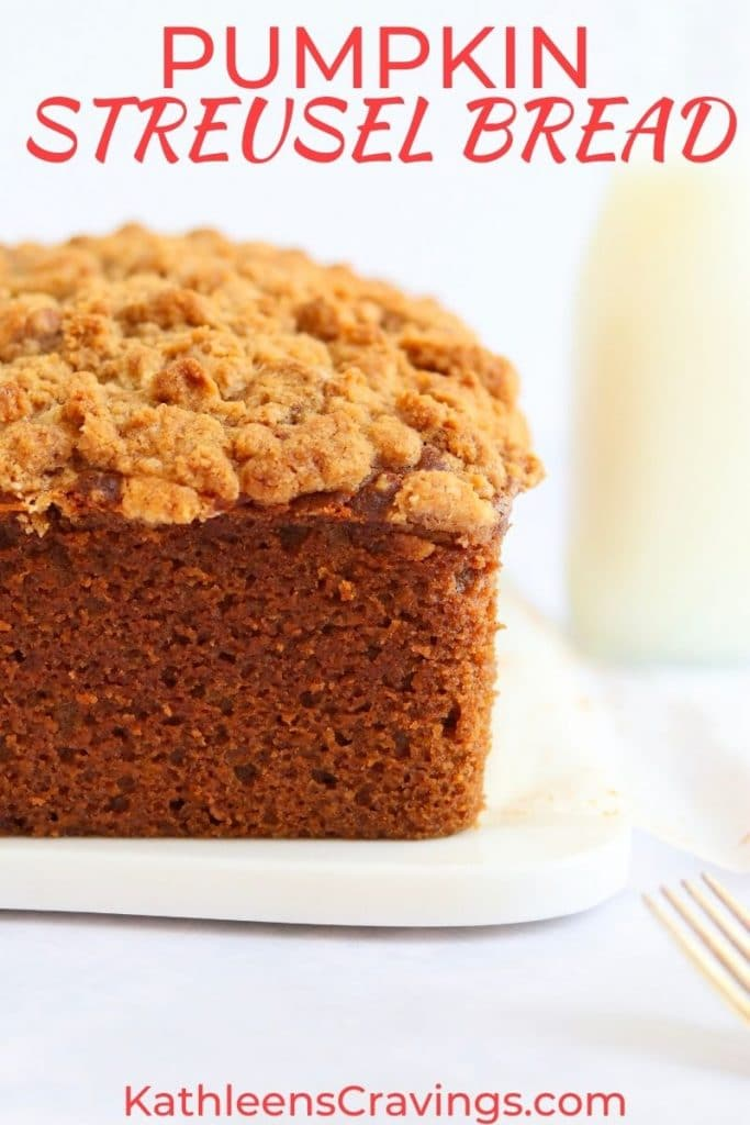 Loaf of pumpkin bread with a streusel crumb topping