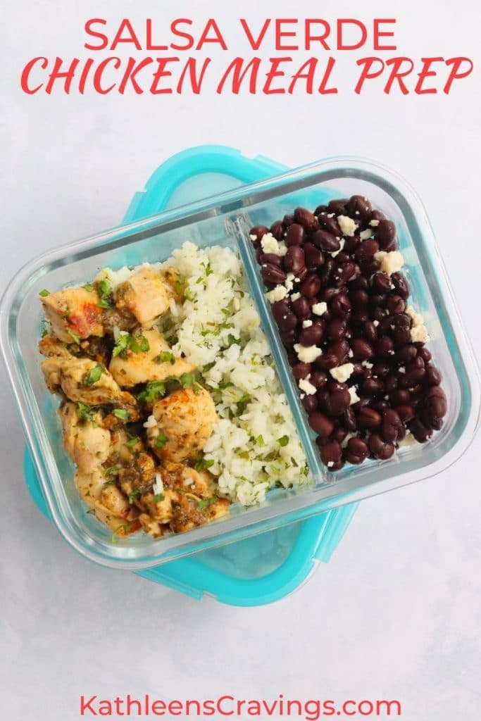 Salsa verde chicken and rice in a meal prep container