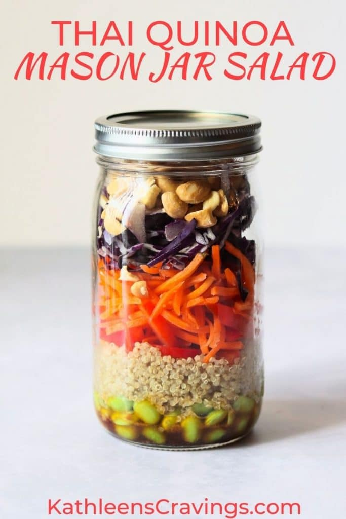 Vegan thai quinoa mason jar salad with edamame