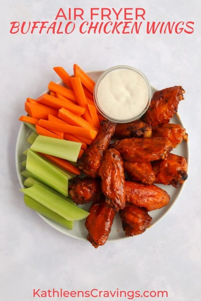 Air fryer buffalo chicken wings with carrots, celery, and ranch dressing