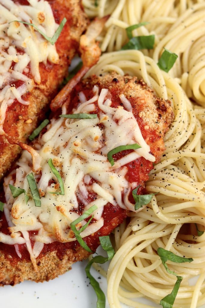 Close up of air fryer chicken parmesan
