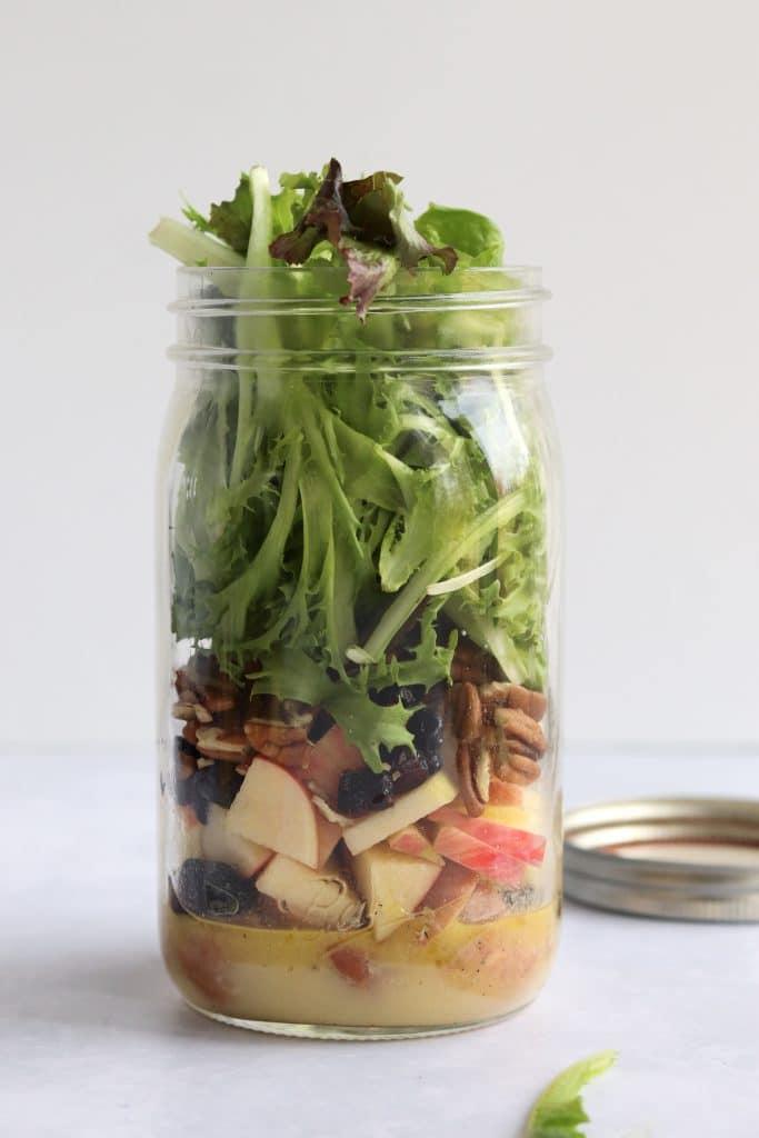 chicken apple salad in a jar