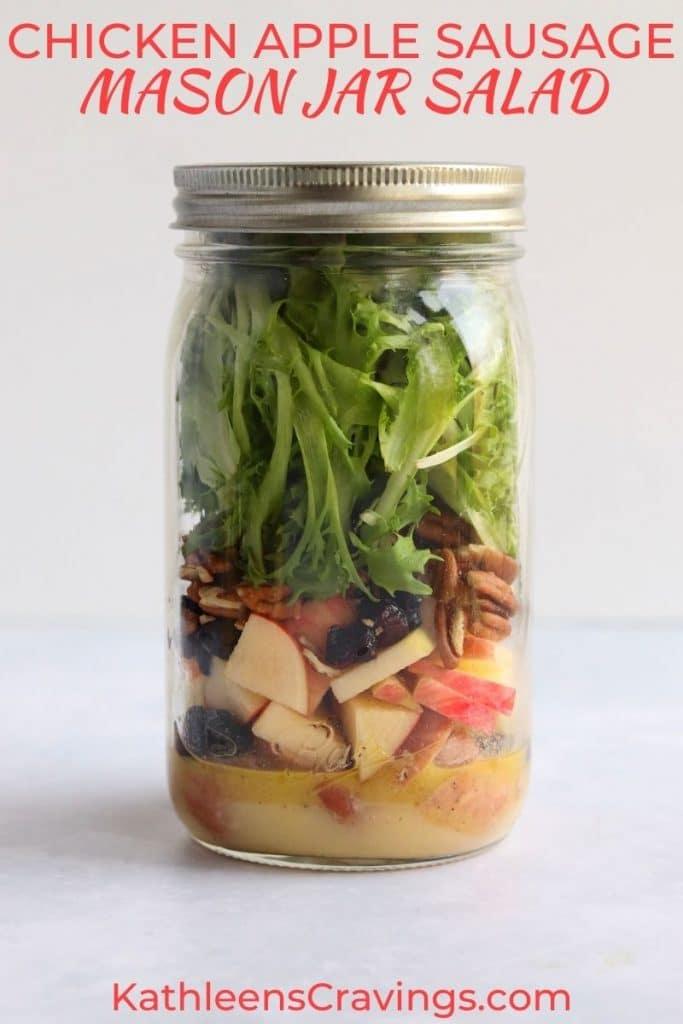 Chicken apple sausage mason jar salad