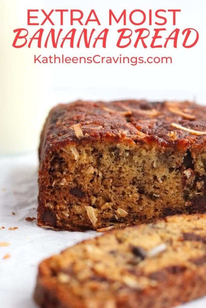 Moist banana bread with chocolate chips and coconut