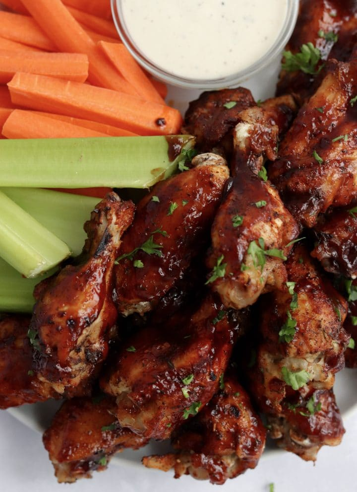 Instant Pot bbq chicken wings on a plate