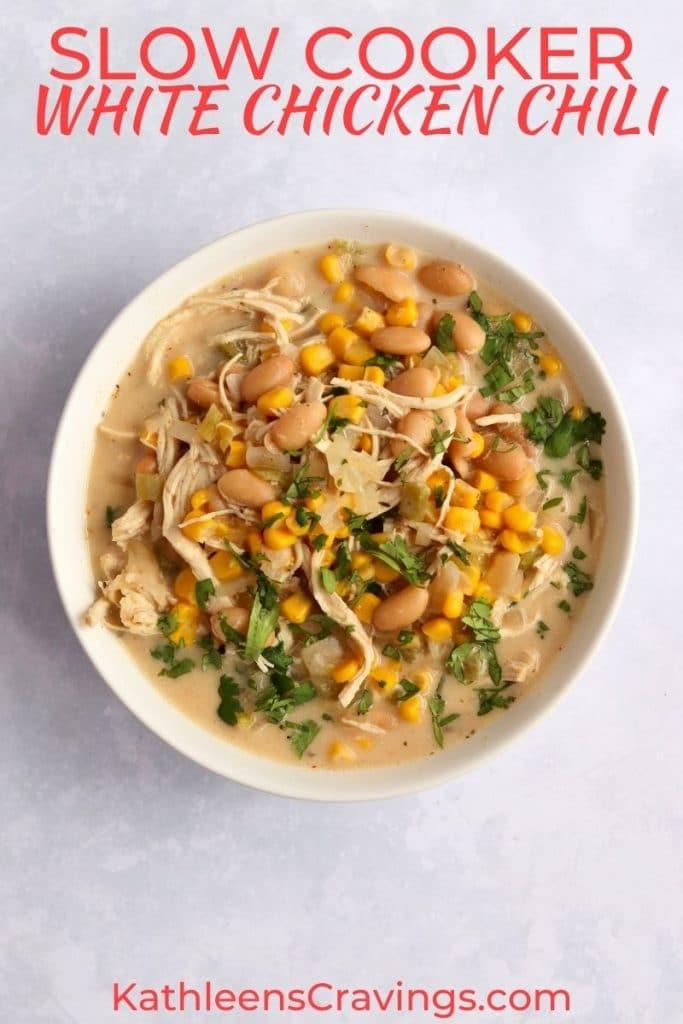 White Chicken chili in a bowl with fresh cilantro