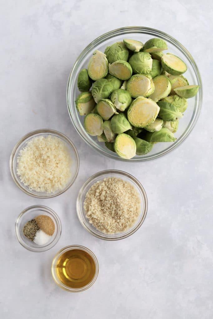 Recipe ingredients in glass prep bowls