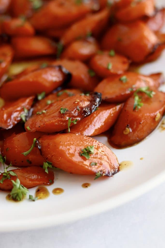 Close up of air fryer glazed carrots