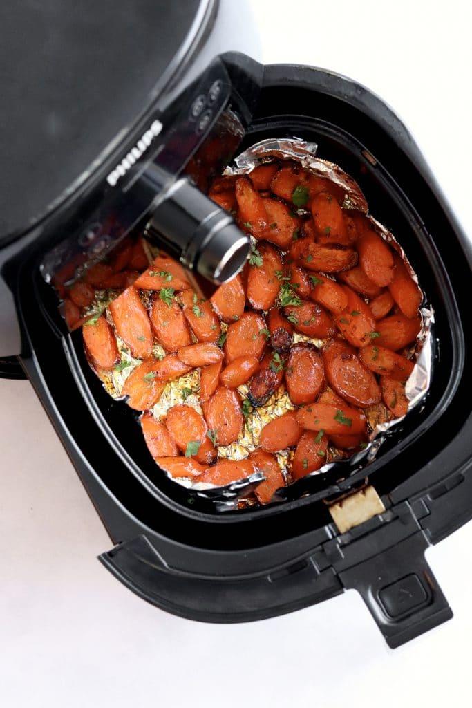 Honey soy glazed carrots in an air fryer