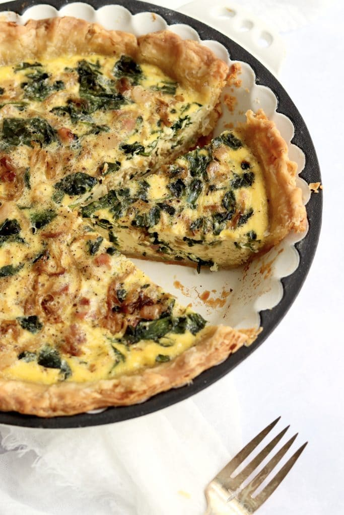 Pancetta Quiche with spinach in a pie dish
