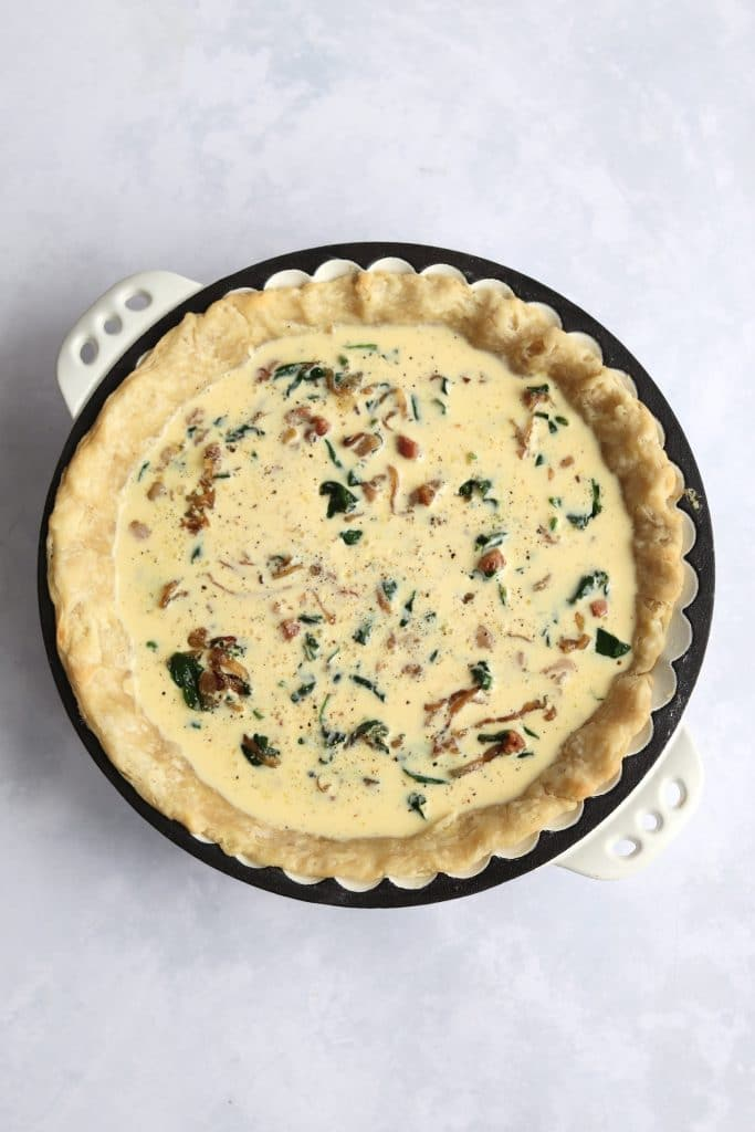 unbaked spinach and pancetta quiche