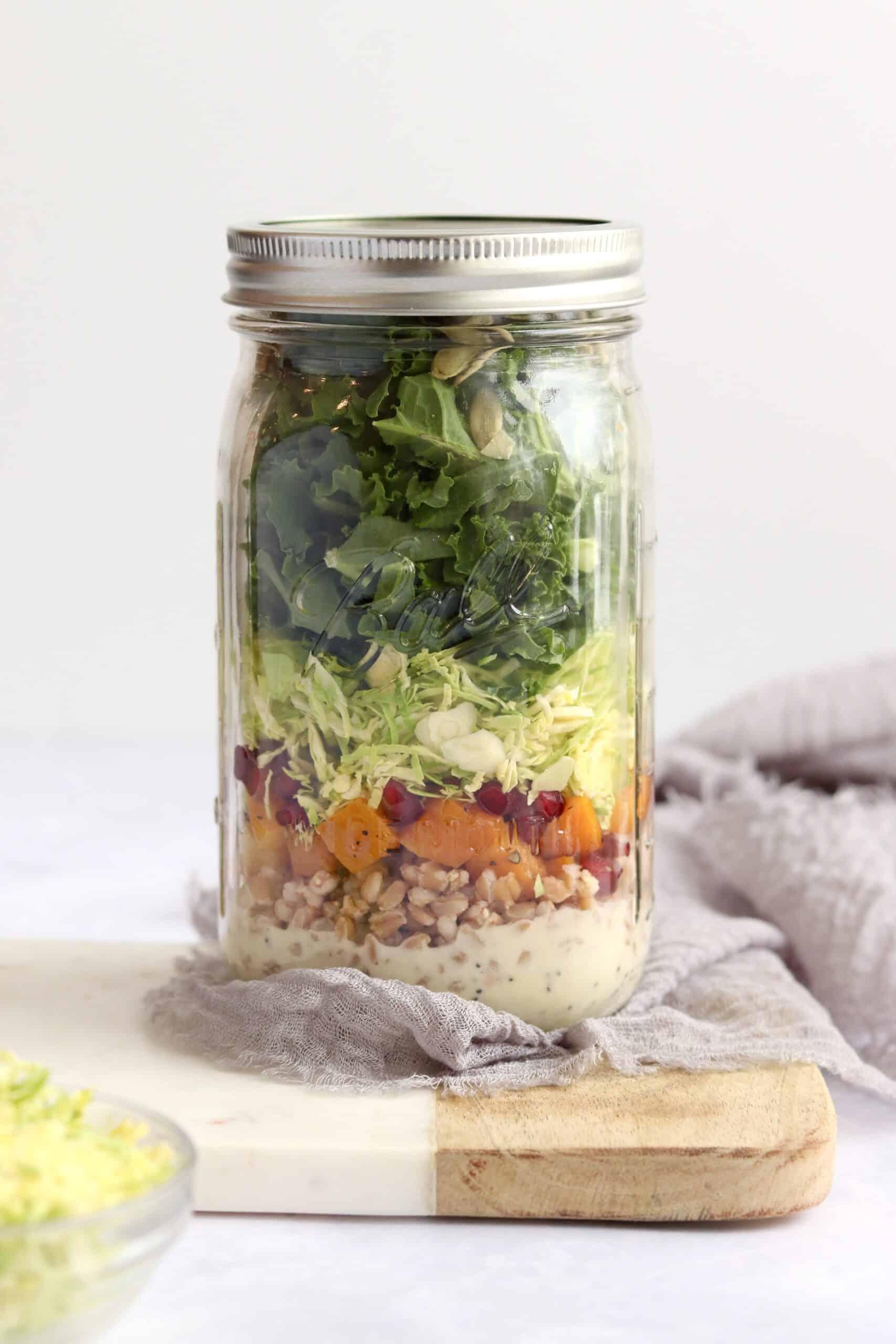 Farro kale poppy seed mason jar salad