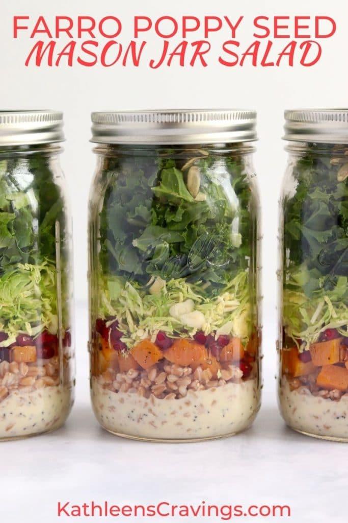 Farro poppy seed mason jar salads