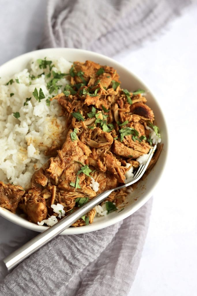 curry chicken with white rice.