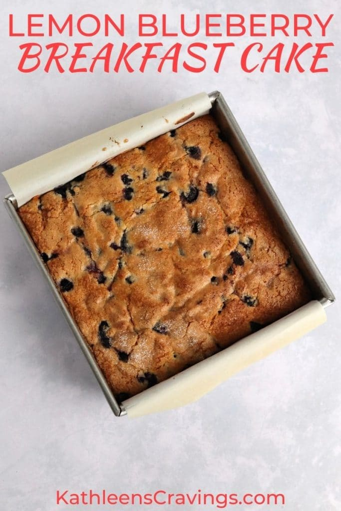 Lemon blueberry breakfast cake in a square pan.