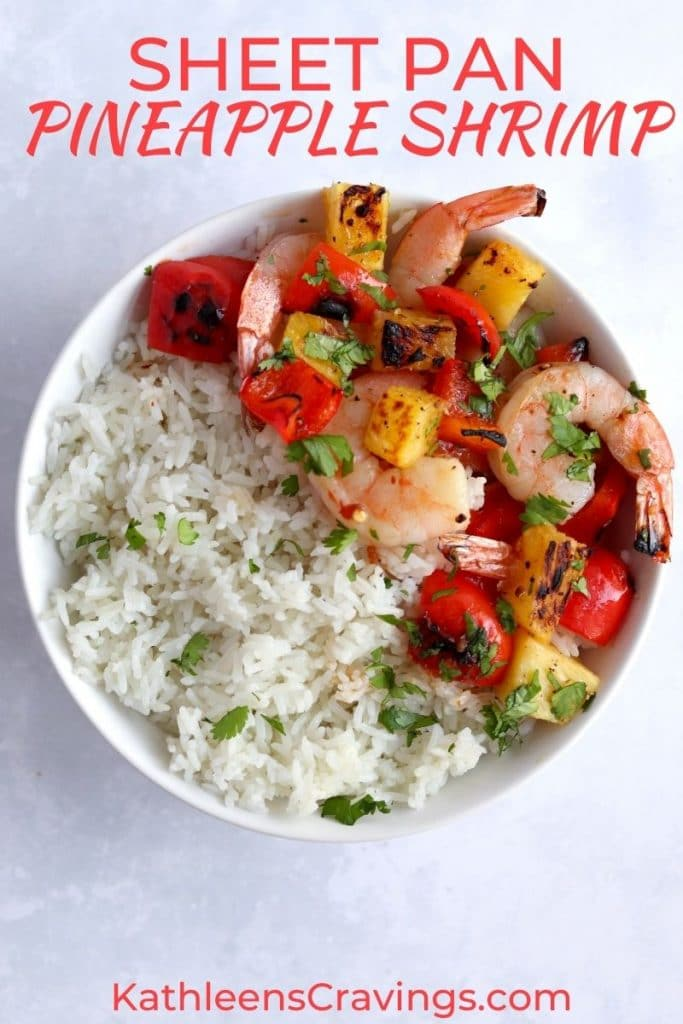 Pineapple shrimp with rice in a bowl.