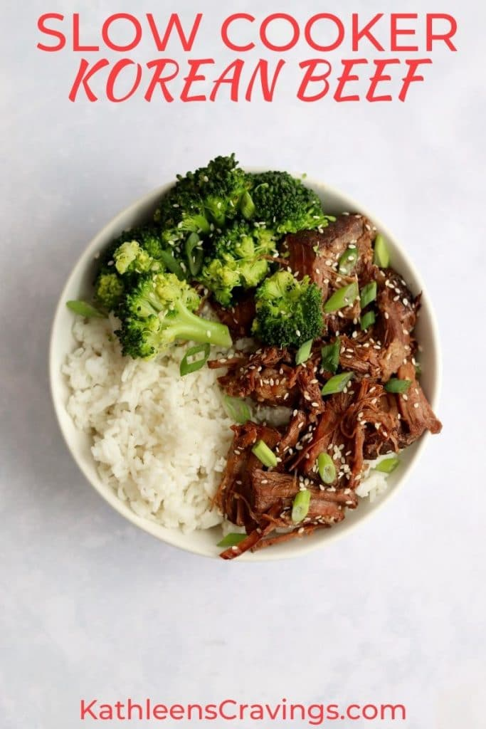 Slow cooker Korean beef in a bowl with rice and broccoli