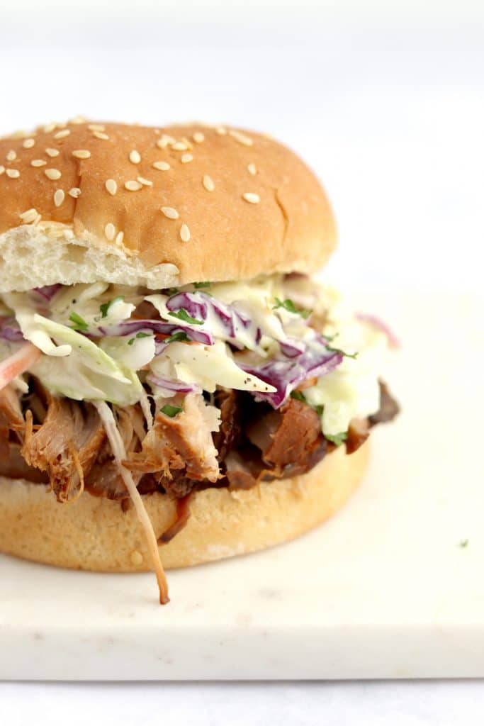 Close up of bbq pulled pork sandwich with coleslaw