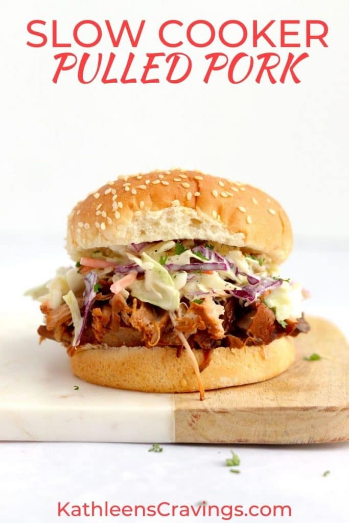 BBQ Pulled Pork on a sesame seed bun with coleslaw