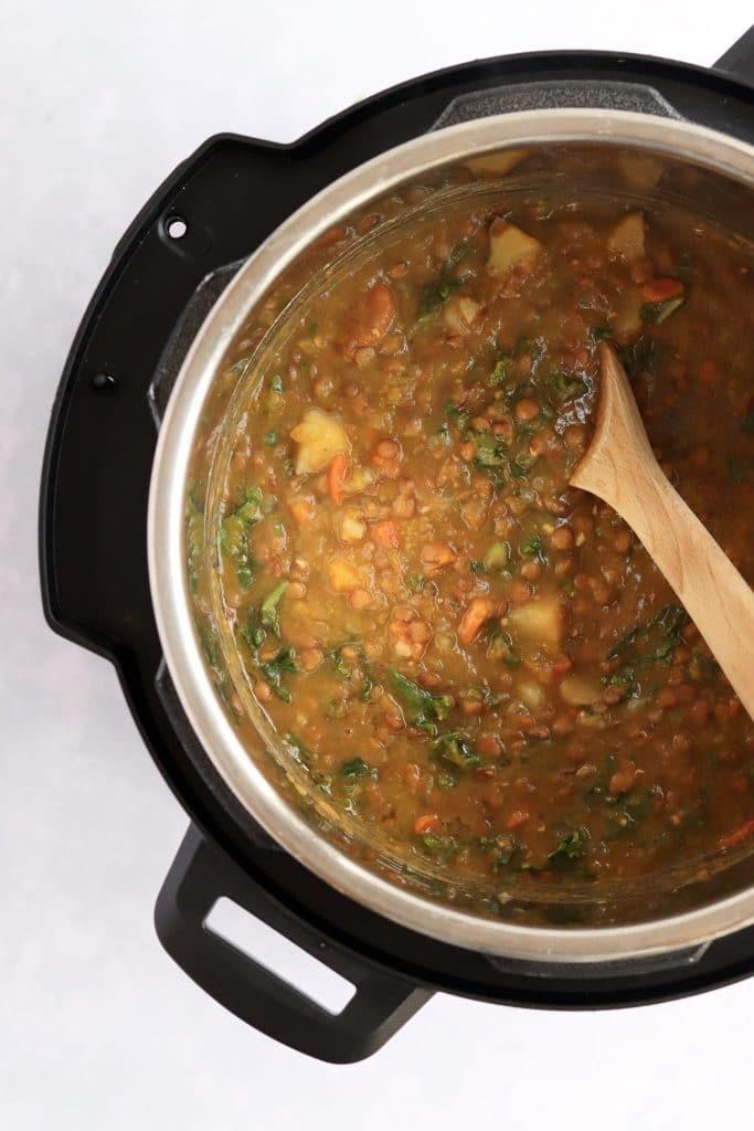 Vegan lentil soup in the instant pot