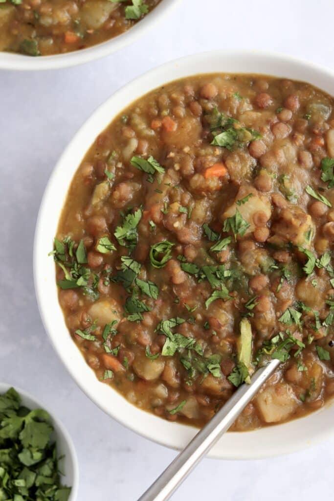 Instant Pot lentil soup with kale in bowls