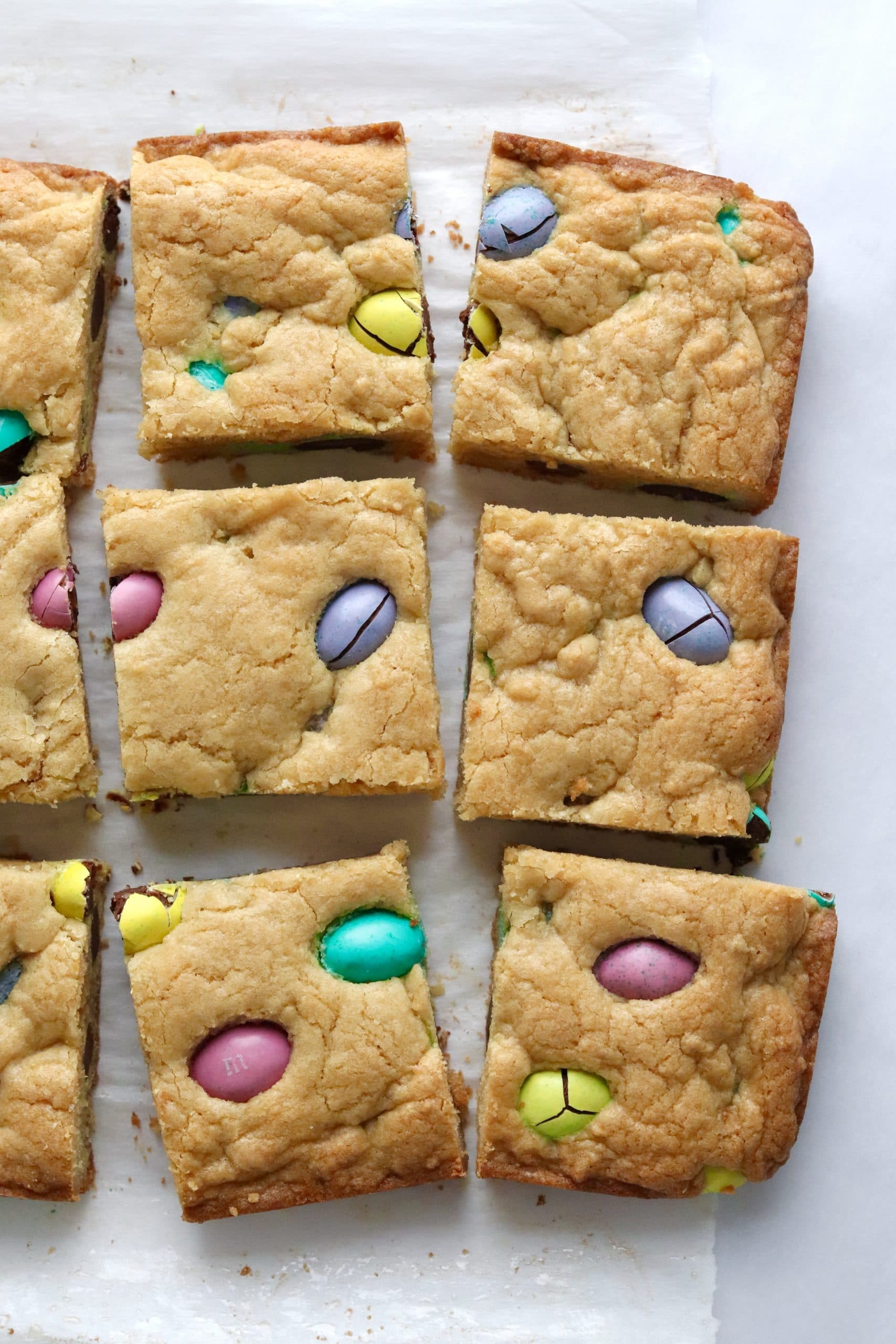 Cut Easter egg cookie bars