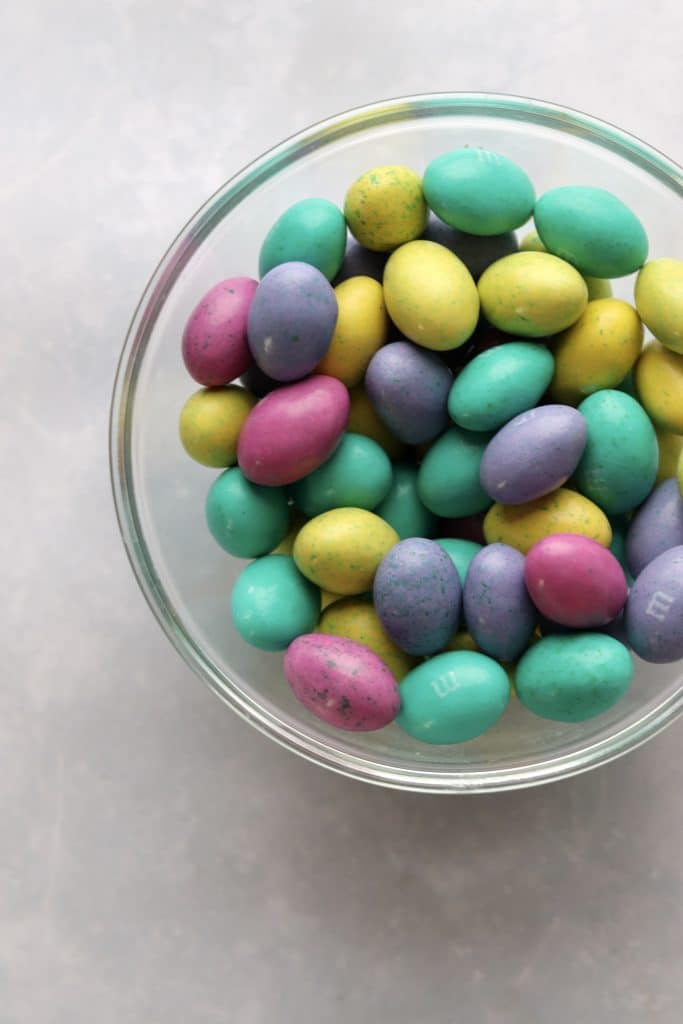 Bowl of M&M Easter egg candies