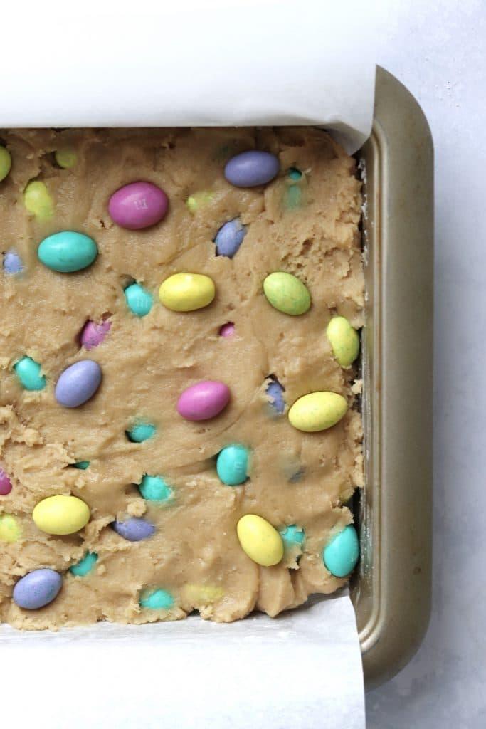 unbaked Easter egg blondies